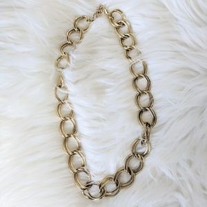 Chunky Faux Gold Double Chain Necklace
